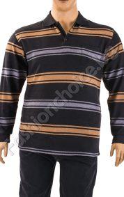 Комфортна мъжка макси блуза на райета с якичка