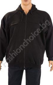 Зимен мъжки макси суичър с качулка в черен цвят