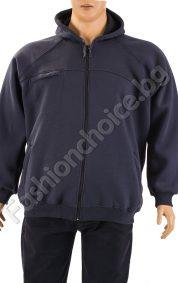 Дебел мъжки суичър с качулка в сив цвят /макси размер/