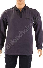 Изчистена макси мъжка блуза с якичка в тъмно сив цвят