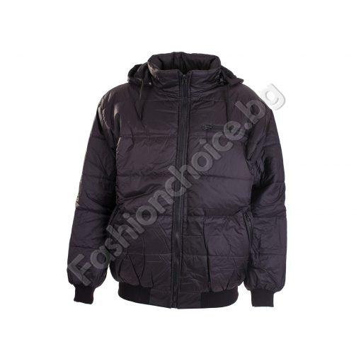 Зимно мъжко макси яке с качулка в черно