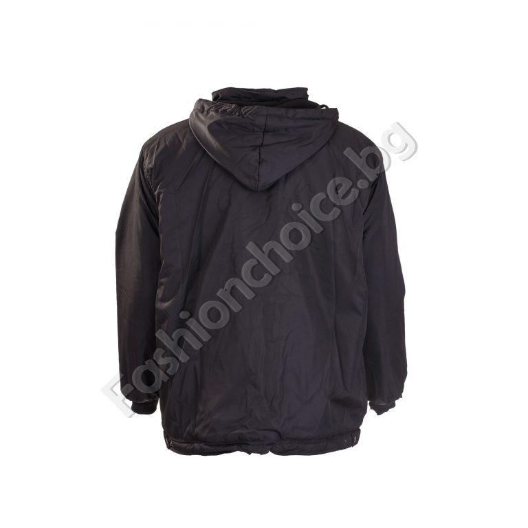 Топло мъжко макси яке с джобчета и качулка в черно