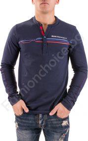 Мъжка блуза с дълъг ръкав, копченца и ефектни линии в горната част