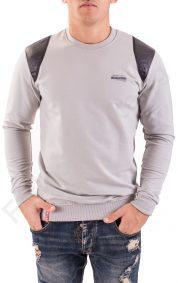Изчистена мъжка блуза с платки от кожа в 4 цвята