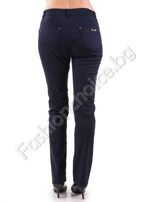 Стилен дамски панталон с черно и тъмно синьо