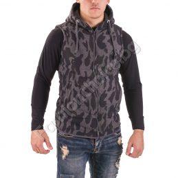 Камуфлажна мъжка грейка с джоКамуфлажна мъжка грейка с джобчета и качулкабчета и качулка