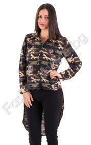 Дамска риза в камуфлажен десен с издължена задна част