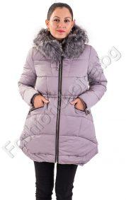 Дълго зимно дамско яке с коляма качулка от еко косъм в три цвята