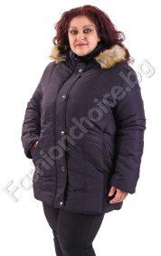 Дебело макси яке в три цвята с удобна качулка и пухче