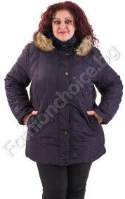 Макси яке за зимата с украсителни шевове и дебела подплата