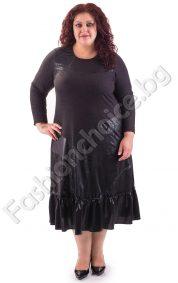 Разкошна дълга макси рокля с промазка и волани