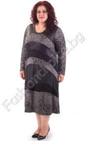 Стилен модел дълга макси рокля с дантелени мотиви и промазка