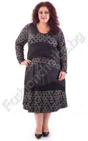 Дълга макси рокля с мотиви от дантела и промазка в два цвята