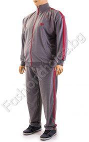 Мъжки макси спортен комплект в сиво с червени кантове