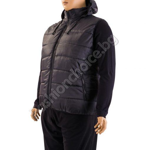 Практична мъжка макси грейка в черно с качулка