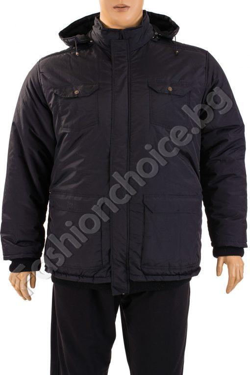 Топло зимно мъжко яке с качулка и джобчета