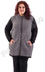 Топла плетена макси жилетка с цип и джобчета