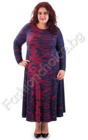 Прелестна дълга макси рокля в комбинация от червен и син цвят