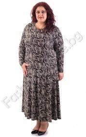Дълъг модел макси рокля на разкошни абстрактни кръгове