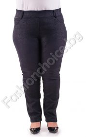 Луксозен дамски панталон тип клин с ефектен принт/макси размер/