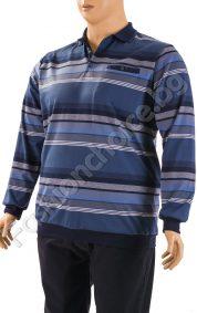 Мъжка макса блуза с якичка и три копченца на райе