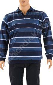 Практична мъжка макса блуза с якичка на райе в синьо