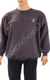 Зимна мъжка макси блуза с обло деколте, джоб и надпис