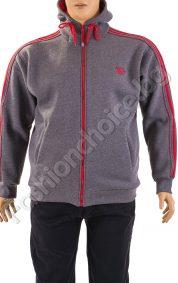 Топъл мъжки суичър с качулка и кантове в сиво /макси размери/