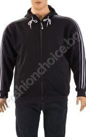 Плътен модел мъжки макси суичър с качулка и кантове в черен цвят