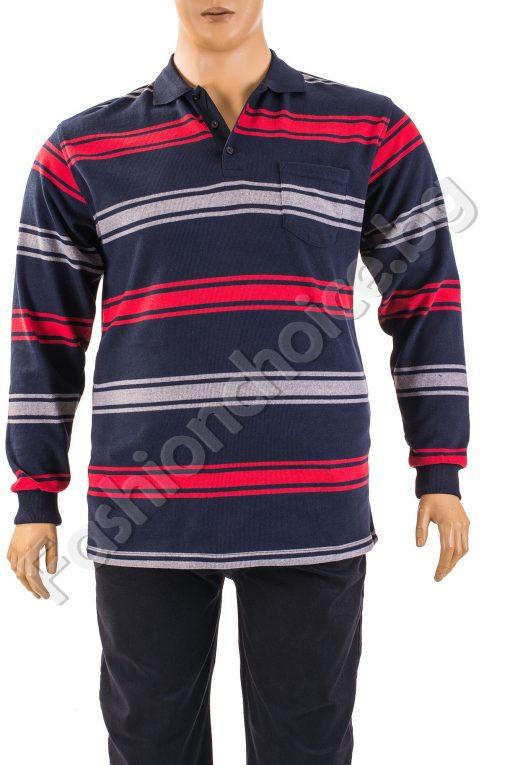 Памучна мъжка макси блуза на райета с дълги ръкави