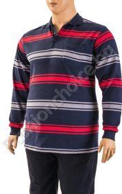 Памучна мъжка макси блуза на райета с дълги ръкавиПамучна мъжка макси блуза на райета с дълги ръкави