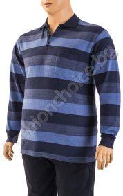 Памучна мъжка блуза на райета с джобчета /макси размери/