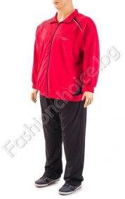 Практичен мъжки спортен комплект в черно и червено/макси размери/