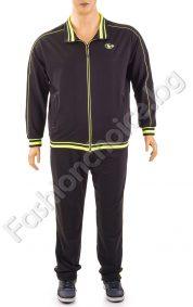 Мъжки спортен комплект в черно с неонови кантове /макси размери/
