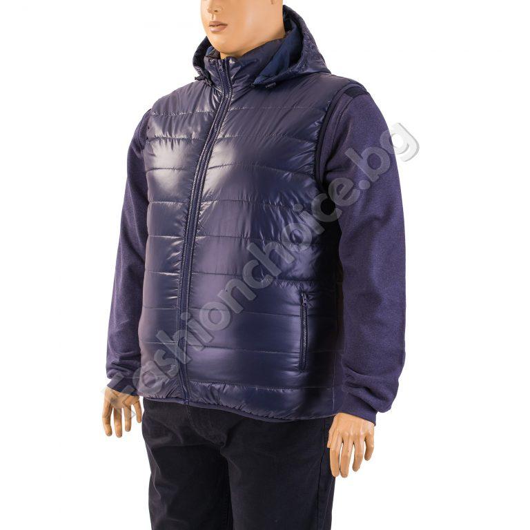 Зимна мъжка макси грейка с качулка в тъмно син цвят