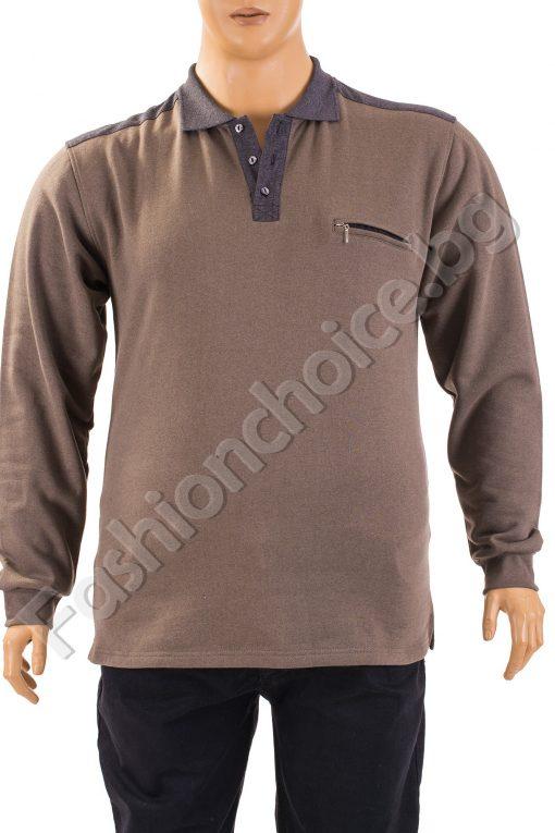 Топла мъжка макси блуза в тъмноТопла мъжка макси блуза в тъмно бежово с джобче бежово с джобче