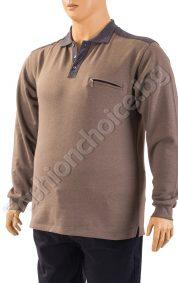 Топла мъжка макси блуза в тъмно бежово с джобче