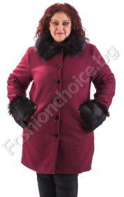 Луксозен модел макси палто с еко косъм в два десена