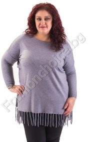 Изчистена макси блуза с ресни и копченца в 5 цвята