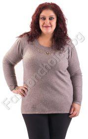 Топла макси блуза с камъчета около деколтето в четири цвята