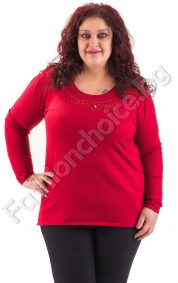 Изчистена дамска блуза с интересни камъчета в четири цвята/макси размери/