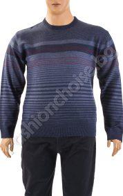 Топъл модел мъжки пуловер на райета /макси размери/