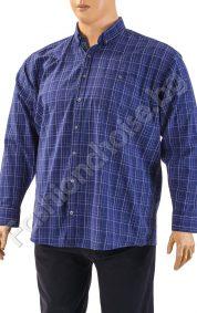 Карирана мъжка риза в син цвят /макси размер/