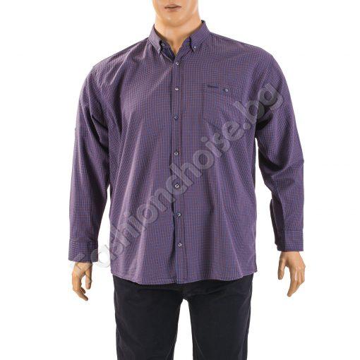Стилна мъжка риза - макси размер на ситно райе