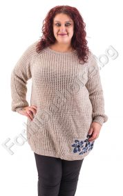 Топъл и уютен макси пуловер с цветя от едната страна в 5 цвята