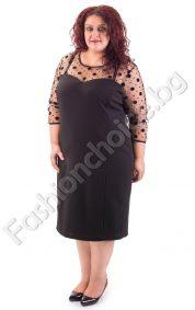 Уникална макси рокля в черно с тюл за изискани поводи
