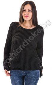 Зимен дамски пуловер с украсителни връзки от двете страни