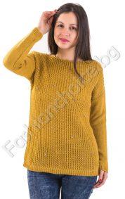 Мек зимен дамски пуловер с камъчета в 5 цвята