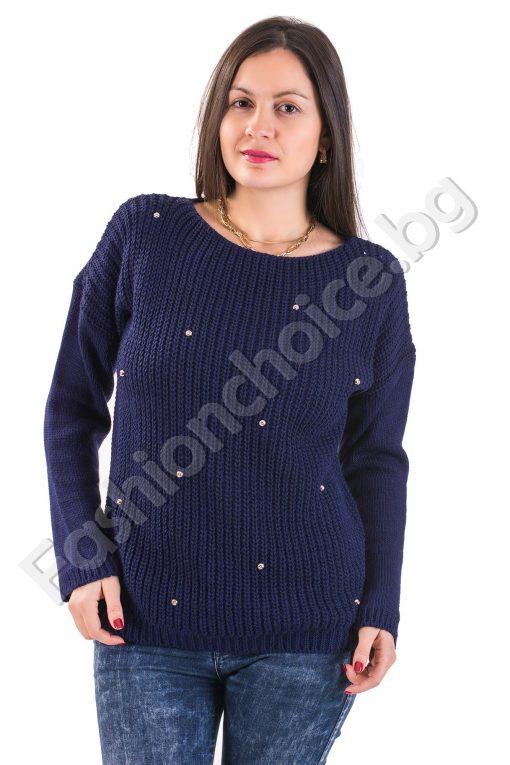 Мек зимен дамски пуловер с камъчета в 5 цвятаМек зимен дамски пуловер с камъчета в 5 цвята