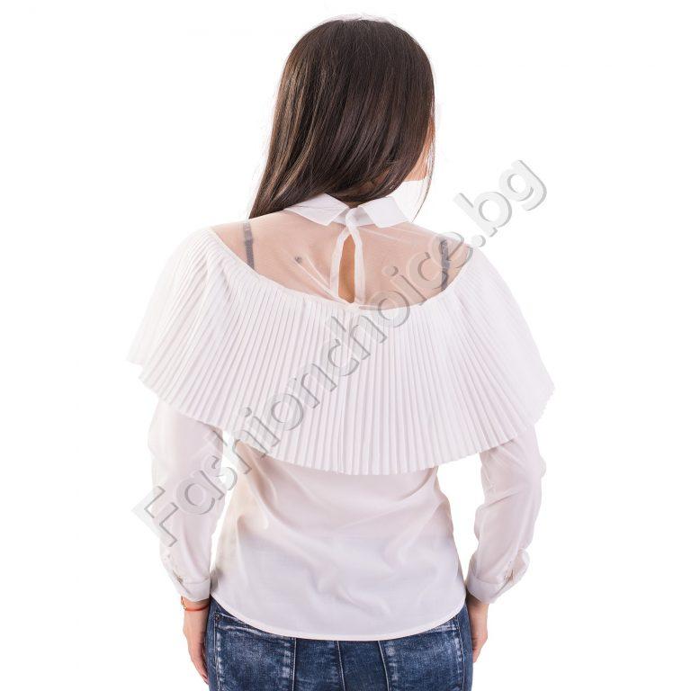 Прекрасна дамска риза с тюл и красива якичка в черен и бял цвят